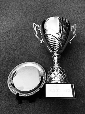 The Norwich Bar Billiards Cup and Plate trophies